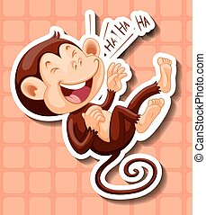 Monkey laughing on orange background