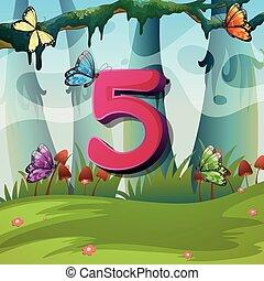 Number five with 5 butterflies in garden