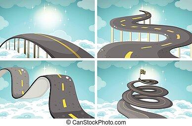 Four scene of roads in the sky