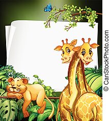 Border deisgn with giraffes and lion in the woods...