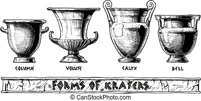 Forms of kraters. Greek vessel shapes. - Vector hand drawn...