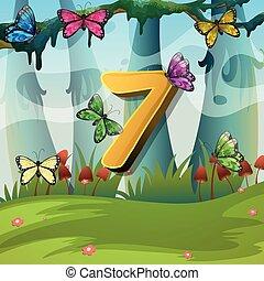 Number seven with 7 butterflies in garden