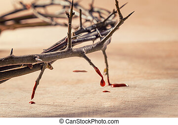 Crown of thorns with blood dripping. Christian concept of...