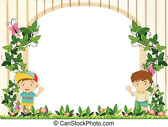 Border design with boys in the garden