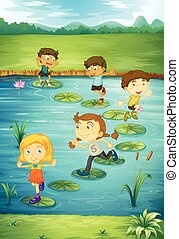 Children stepping on lotus leaves illustration