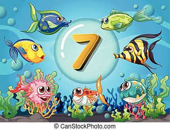 Flashcard number seven wit 7 fish underwater