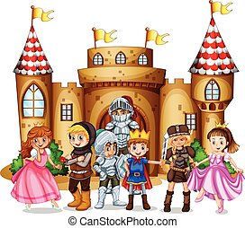 Characters from fairytales and castle illustration