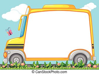 Border design with schoolbus in garden illustration