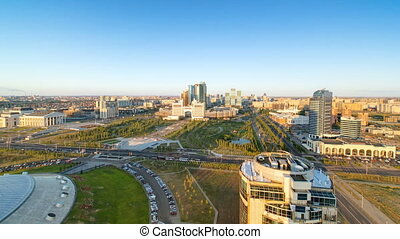 Elevated view over the city center and central business district sunset Timelapse, Central Asia, Kazakhstan, Astana