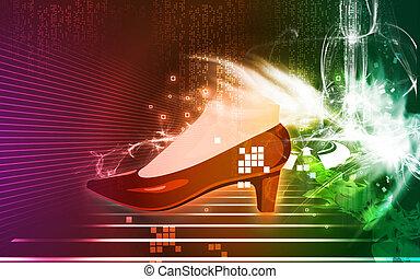 Shoe - Illustration of  shoe wearing lady's  leg