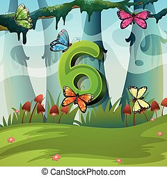 Number six with 6 butterflies in garden