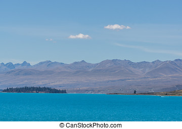 lake tekapo open view taken during summer in new zealand.