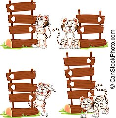 White tiger with wooden signs illustration