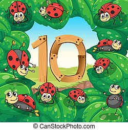 Number 10 with 10 ladybugs on leaves illustration
