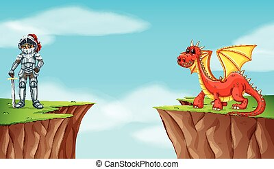 Knight and dragon on the cliff
