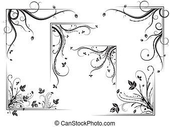 Floral corner set - Black vintage floral corner set, vector...