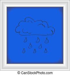 単純である, いたずら書き, 雲, 雨