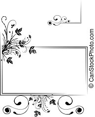 Floral frame - Monochrome floral scrap-booking frame, vector...