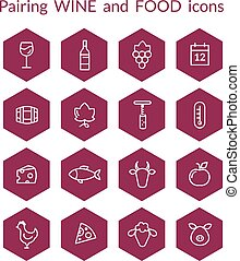 Hexagonal wine and food pairing icons - Set of vector icons...