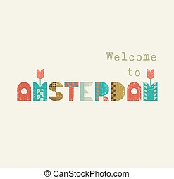 Welcome to Amsterdam retro lettering