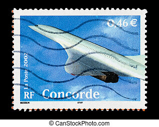 concorde - mail stamp printed in France featuring the...