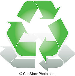 Recycle symbol 3D icon vector illustration