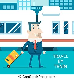Cartoon Businessman Character Travel Vacation Mobile...