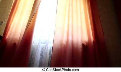 Wind Blows Away Curtains - The wind rustles the curtain