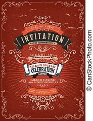 Vintage Invitation Poster Background - Illustration of a...