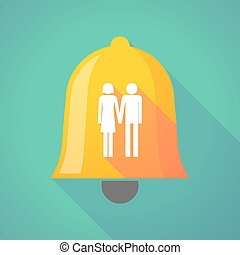 Long shadow bell with a heterosexual couple pictogram -...