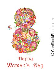 Greeting card for Womans Day - Greeting card with flowers...