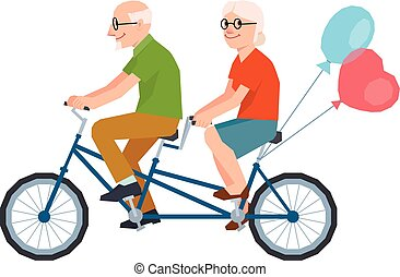 Vector senior married a loving couple riding a tandem...