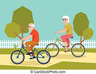 Mature couple riding on a bicycle illustration of style low poly.eps