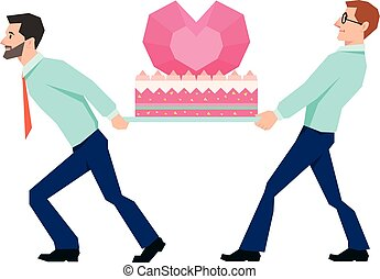 Men carry a huge cake Valentines illustration style low poly.eps