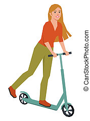 girl rides on kick scooter - Beautiful girl rides on kick...