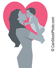 Happy mother and child monochrome vector illustration view...