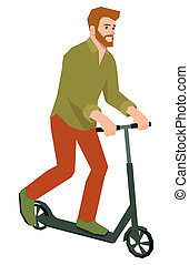 Hipster man rides a kick scooter vector illustration in flat...