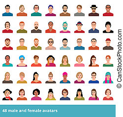 Large set of vector avatars various male and female in a...