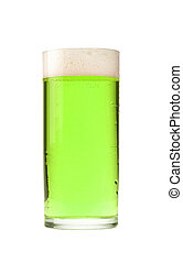 Glass of beer on a white