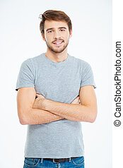 Casual man standing with arms folded - Happy casual man...