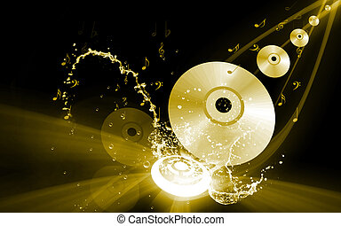 Musical disc - Illustration of a compact disc with colours...