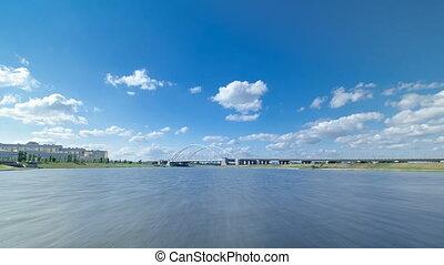 Astana, Kazakhstan. View from Pleasure boat on the river Ishim timelapse hyperlapse drivelapse in Astana.