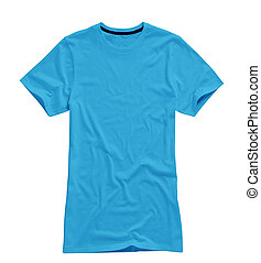 blue t shirt isolated on whte