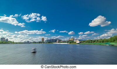 Astana, Kazakhstan. View from Pleasure boat on the river...