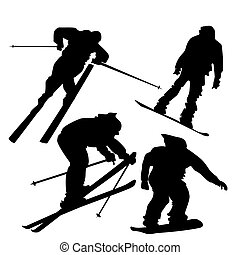 Skiers and Snowboarders Silhouettes - 4 silhouettes of...
