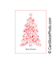Christmas Card with Cute Christmas Tree
