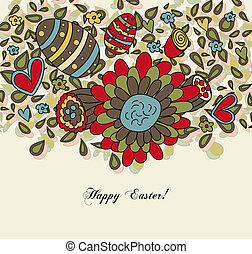 Floral Easter Card with Eggs