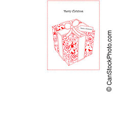 Christmas Card With Gift in Cute Wrapping Paper