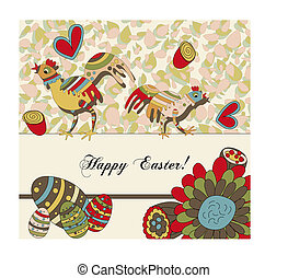 Easter Greeting Card - A whimsical card with two easter...