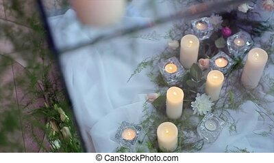 Candles Under Glass with Decorative Grass.